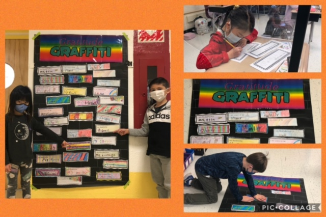 Let Gratitude be your Attitude! Mrs.Kessler's 2nd Grade class created a Gratitude Graffiti Mural together to celebrate Thanksgiving!