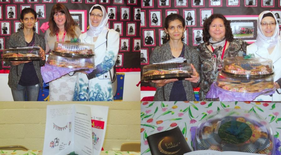 Parents stand with Principal holding cookie trays to celebrate Eid ul Fitr