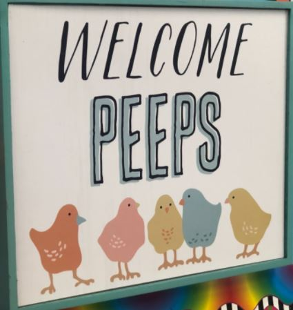 Welcome sign for the chick eggs.