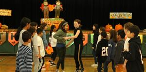 A group of students square dancing