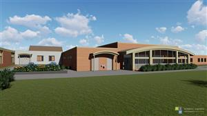 Rendering of the front of the new fitness center
