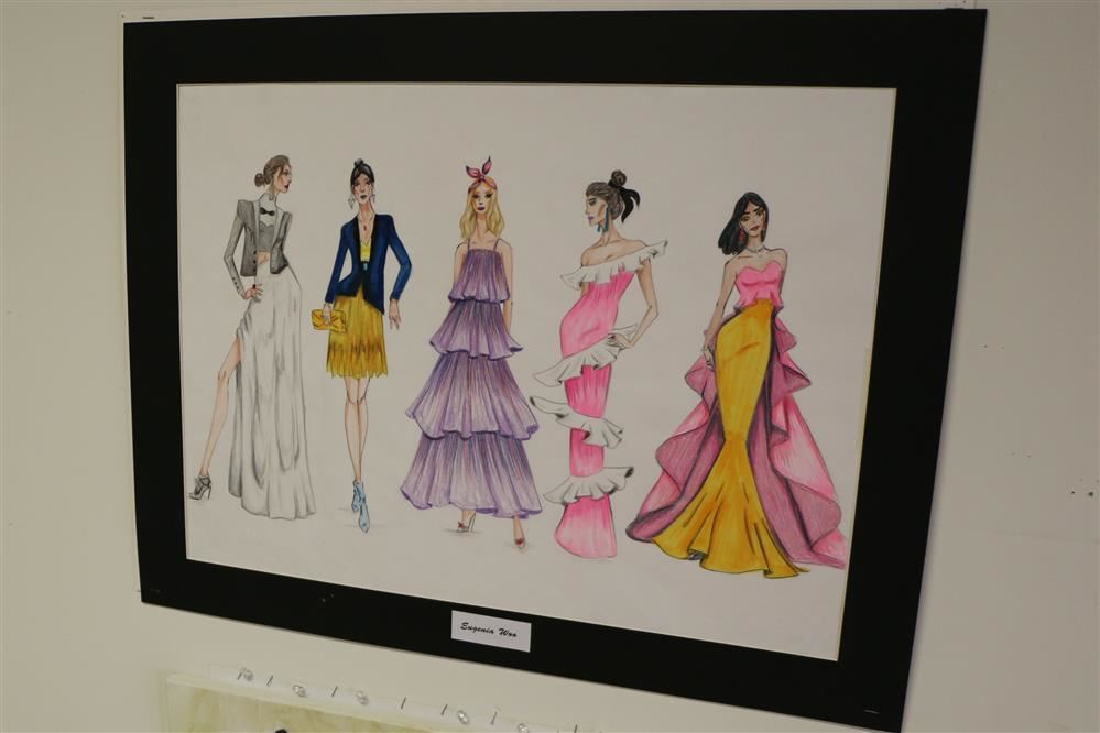 student drawing of fashion design
