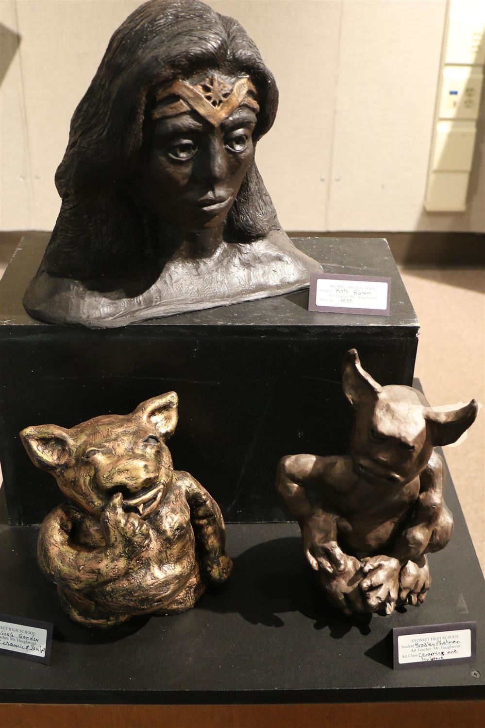 Three sculptures by students
