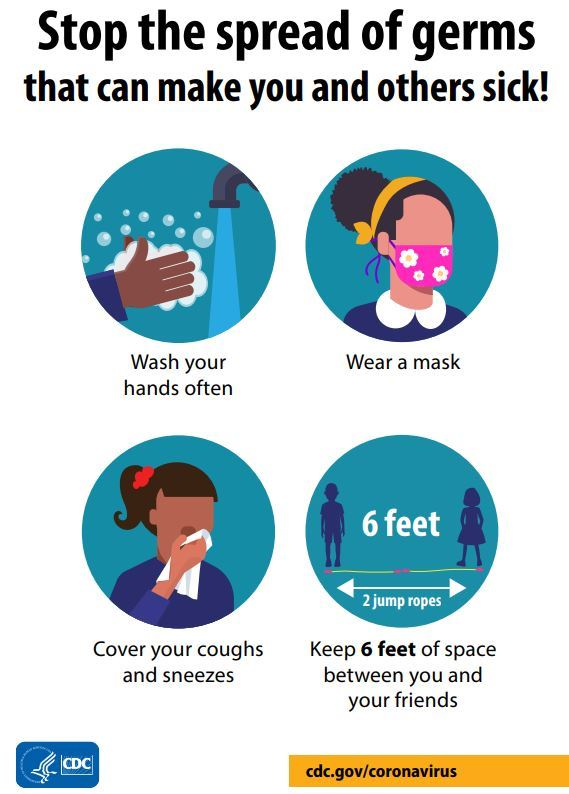 Stop the spread of germs by washing hands, wearing a mask, cover coughs and sneezes, maintain social distance