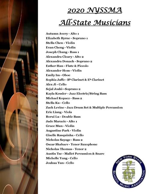 Listing of All State Musicians