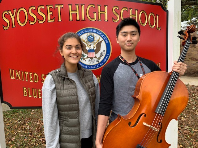 All-National Honors musicians pose in front of high school