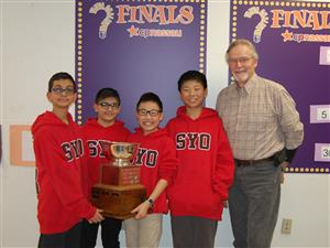6th grade team poses with trophy and advisor Mr. Ryan