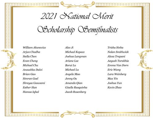 Listing of names of National Merit Semifinalists