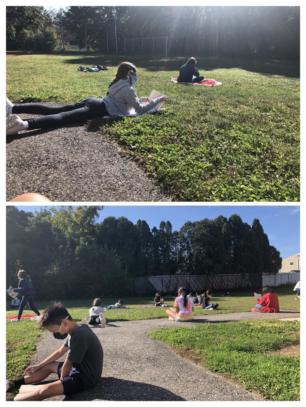 Reading outside with 4SR