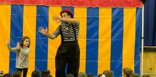 A third grader copying the mime.