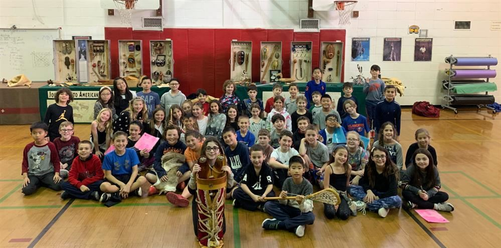 The fourth graders learning about Native Americans.