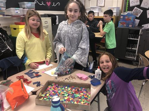 Fifth graders crafting.