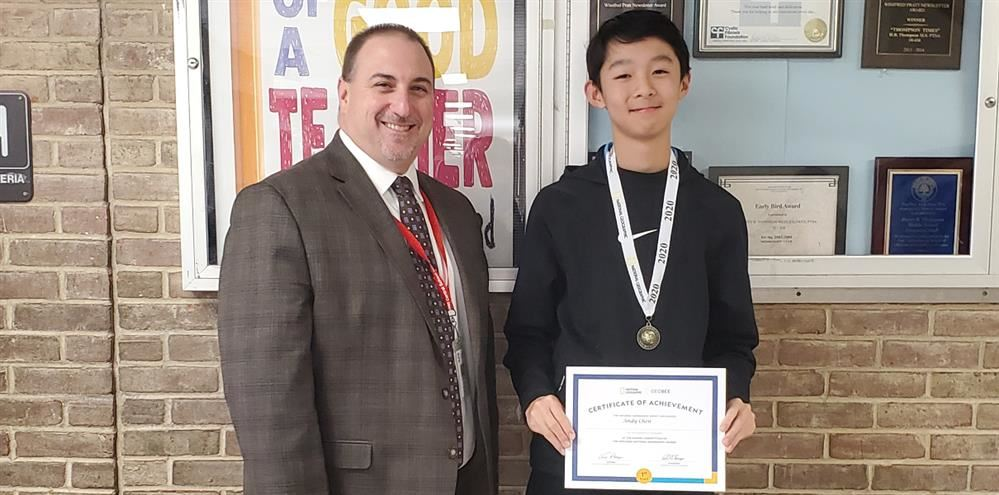 HBT Geography Bee Champion with Principal Mr. Bonanno