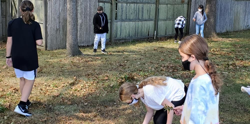 Students exploring outside